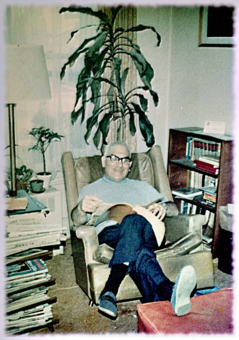 Dad in a clean living room, circa 1975