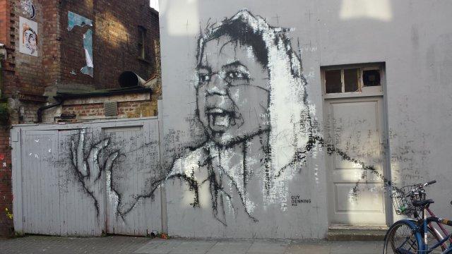 Grafitti along Commercial Street