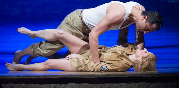 Darius Campbell (Warden) and Rebecca Thornhill (Karen) in From Here To Eternity at the Shaftesbury Theatre.